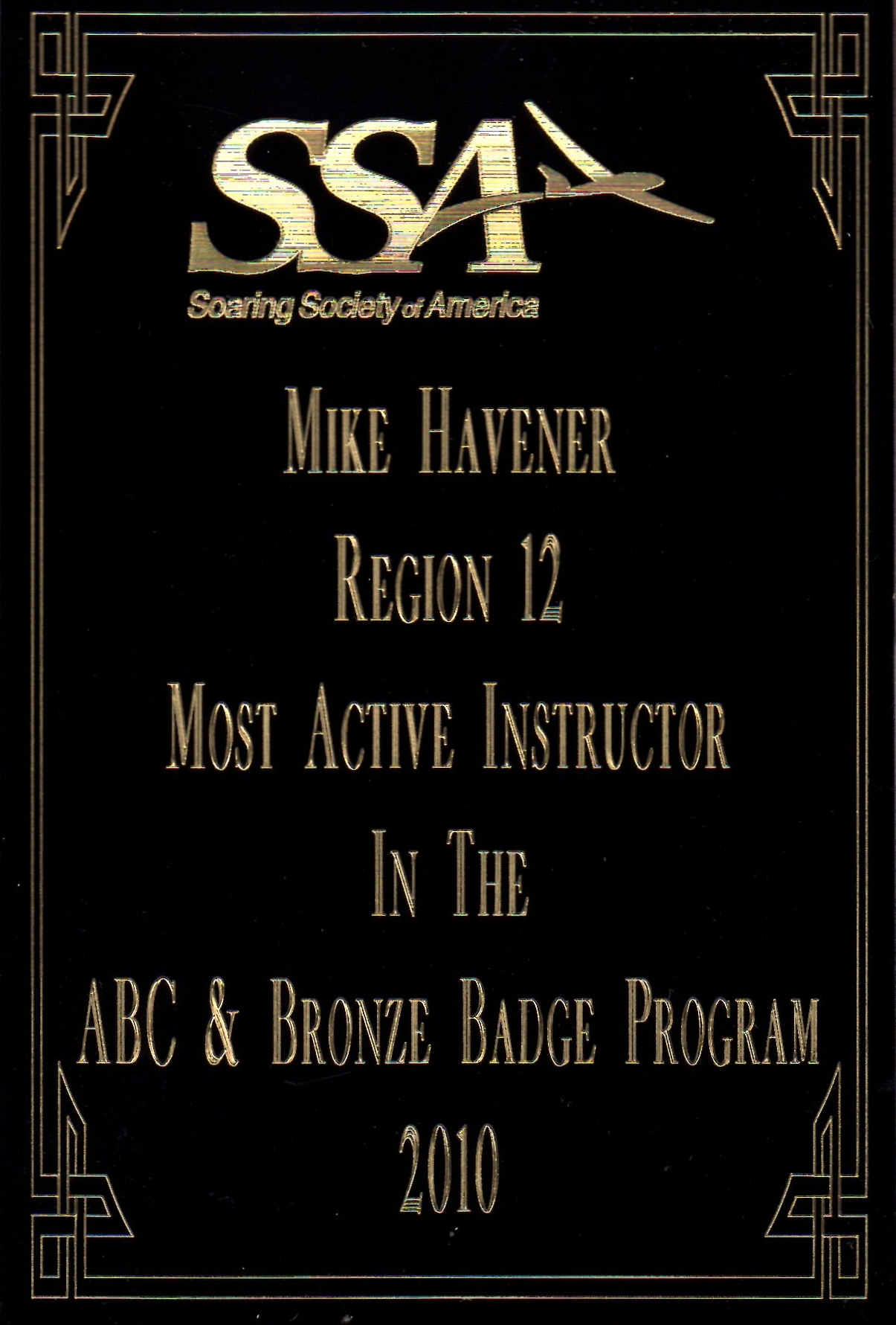2010 Top Producing SSA Instructor for Region 12 award